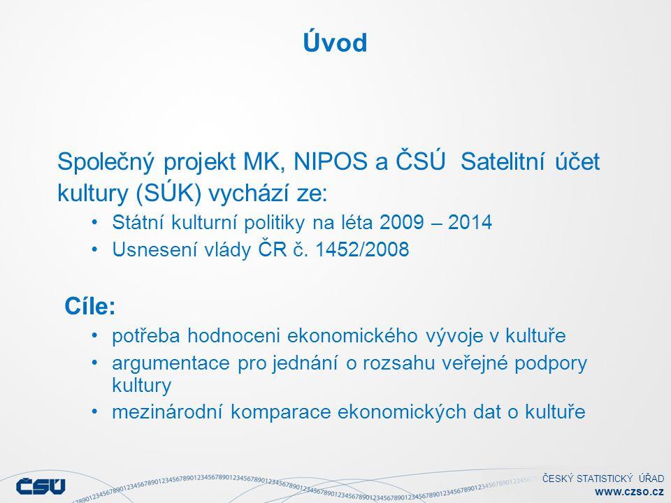Úvod Společný projekt MK, NIPOS a ČSÚ Satelitní účet