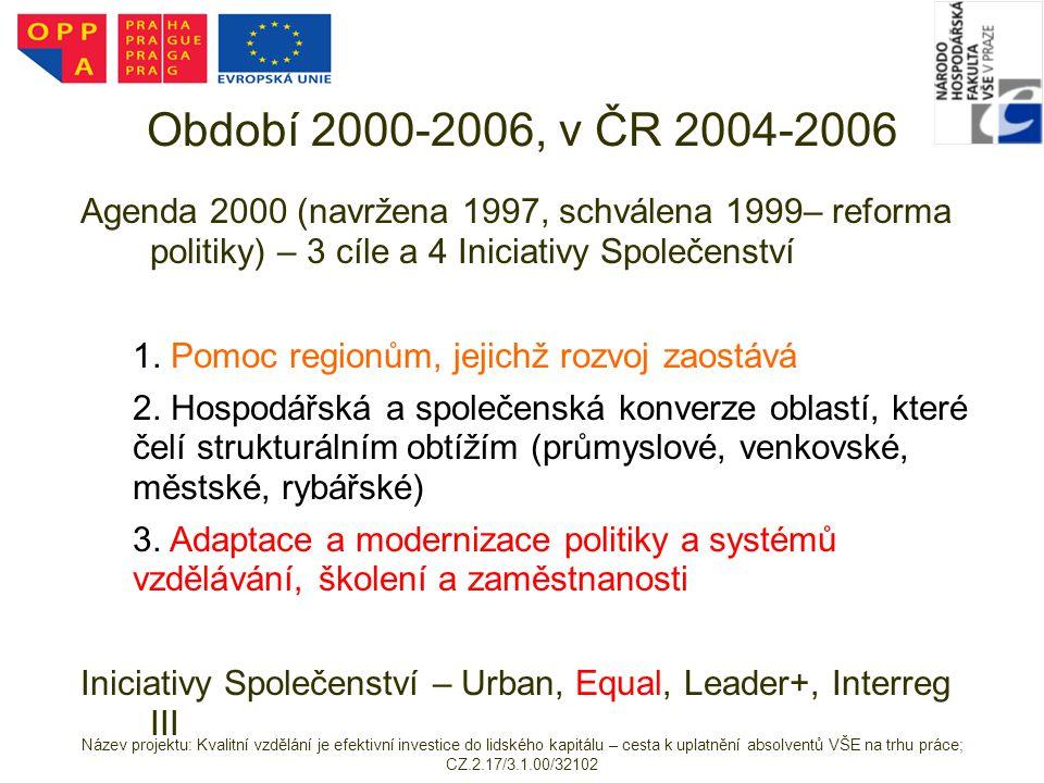 Období 2000-2006, v ČR 2004-2006 Agenda 2000 (navržena 1997, schválena 1999– reforma politiky) – 3 cíle a 4 Iniciativy Společenství.