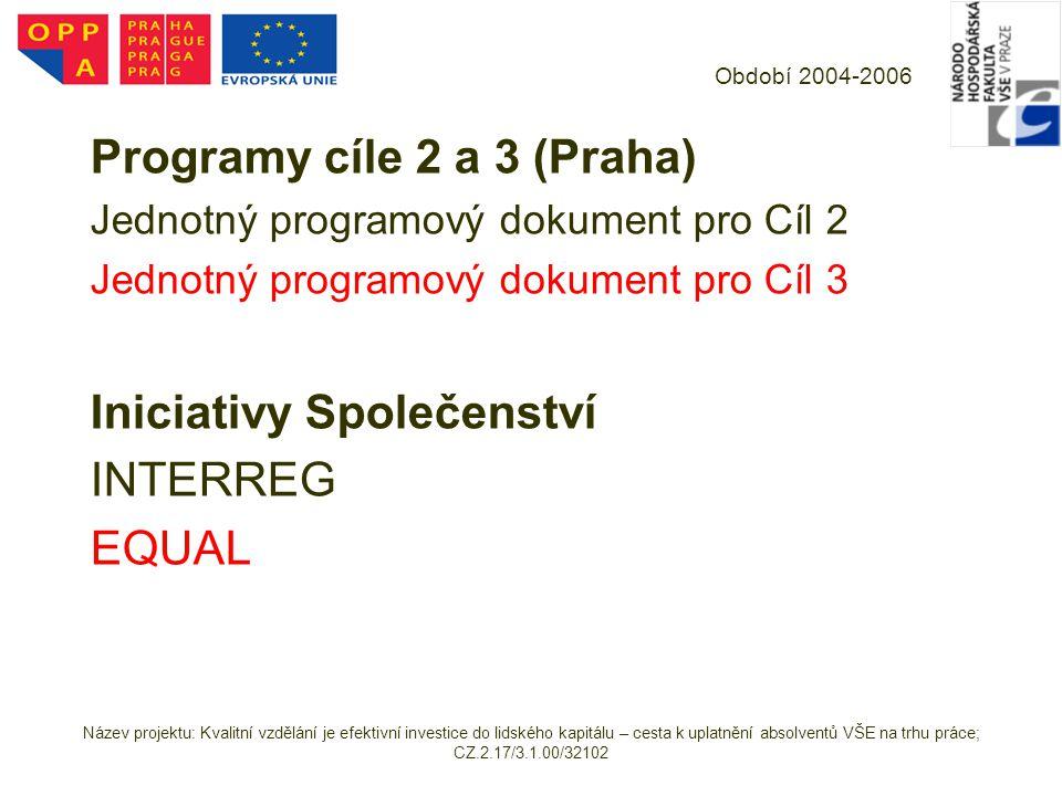 Programy cíle 2 a 3 (Praha)