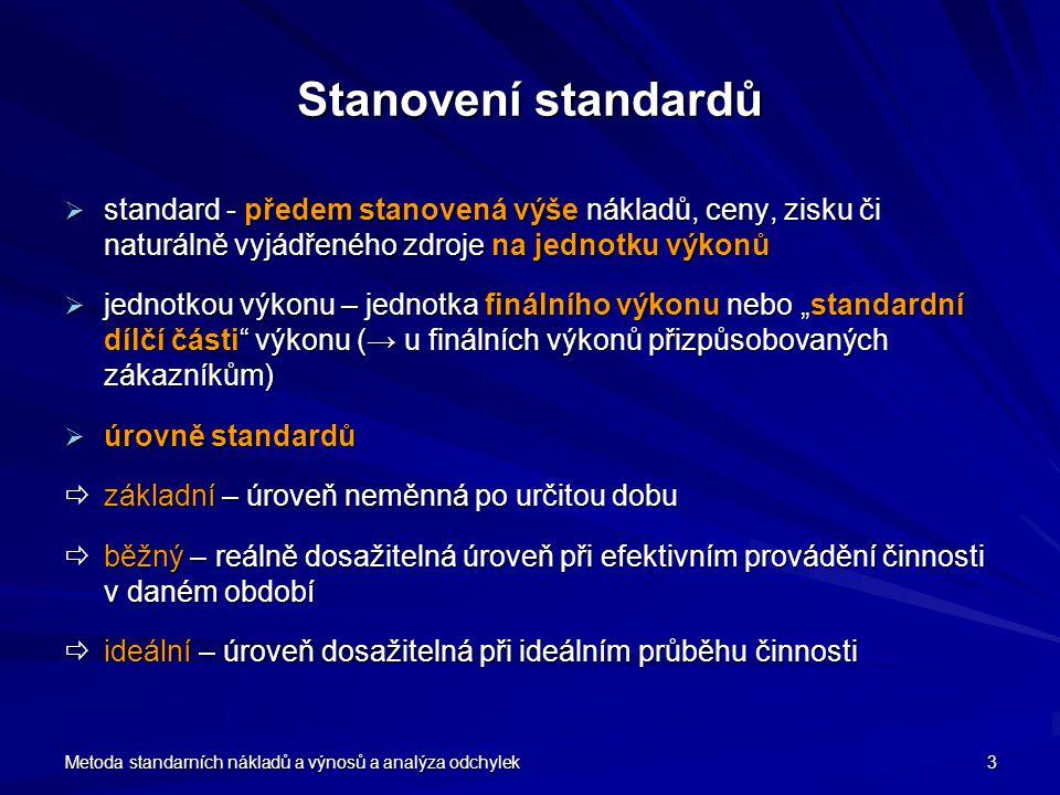Stanovení standardů standard - předem stanovená výše nákladů, ceny, zisku či naturálně vyjádřeného zdroje na jednotku výkonů.