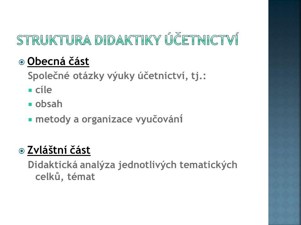 Struktura didaktiky účetnictví