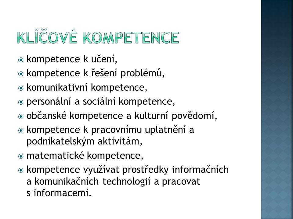 Klíčové kompetence kompetence k učení, kompetence k řešení problémů,