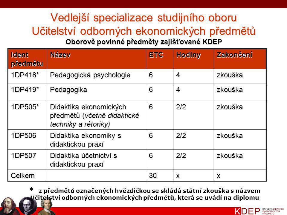 Oborově povinné předměty zajišťované KDEP