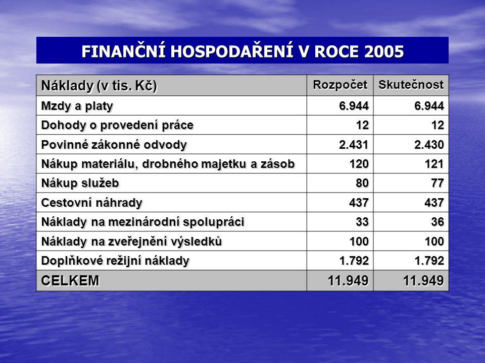 FINANČNÍ HOSPODAŘENÍ V ROCE 2005