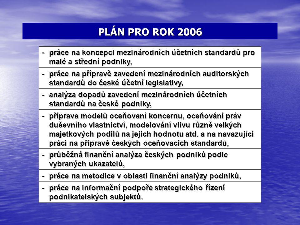 PLÁN PRO ROK 2006 - práce na koncepci mezinárodních účetních standardů pro malé a střední podniky,