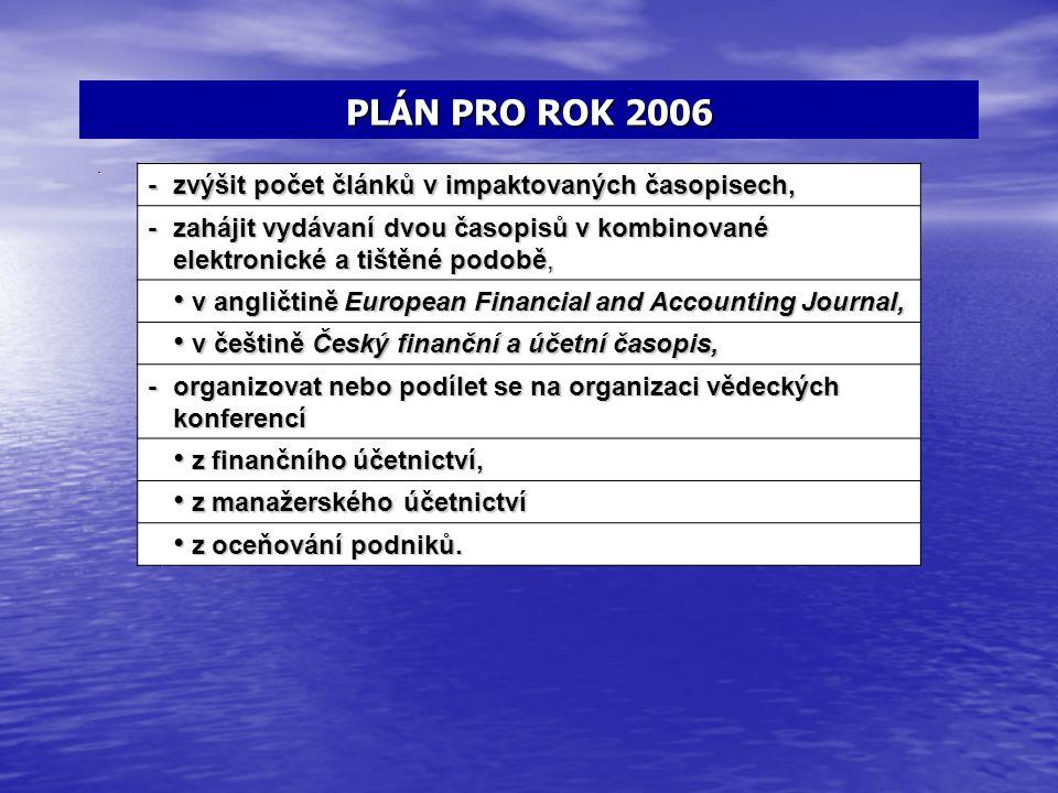 PLÁN PRO ROK 2006 - zvýšit počet článků v impaktovaných časopisech,