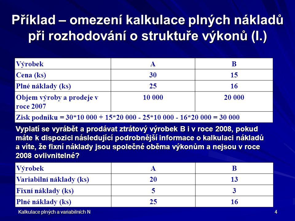 Příklad – omezení kalkulace plných nákladů při rozhodování o struktuře výkonů (I.)