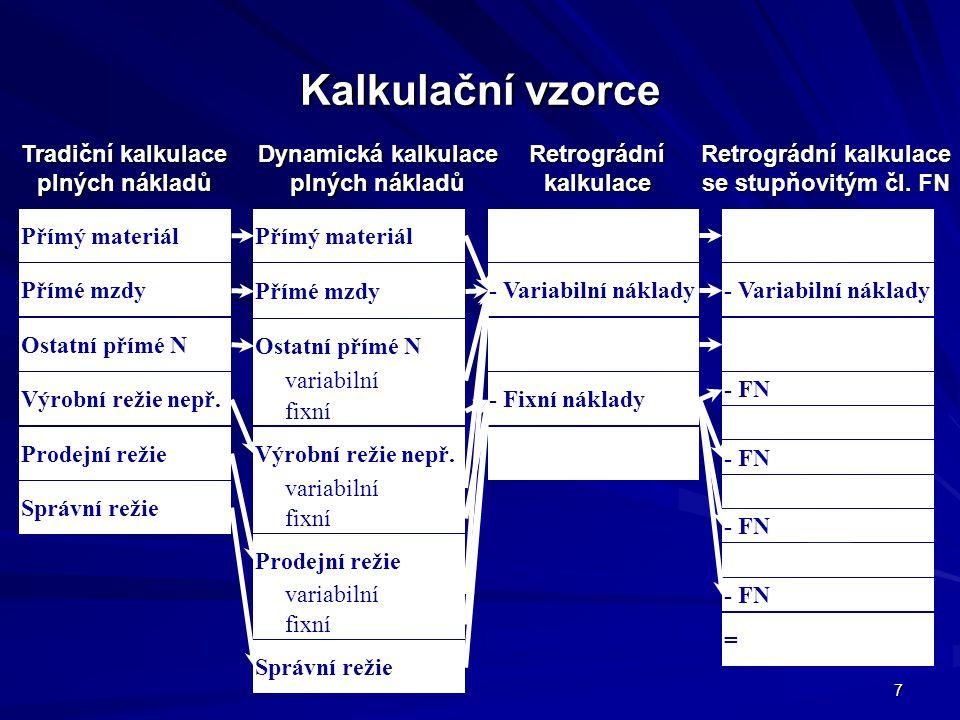 Kalkulační vzorce Tradiční kalkulace plných nákladů