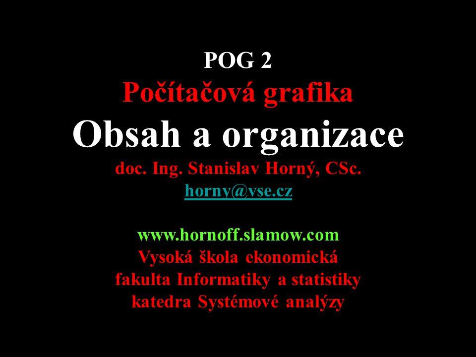 Obsah a organizace Počítačová grafika POG 2