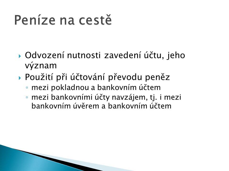 Peníze na cestě Odvození nutnosti zavedení účtu, jeho význam