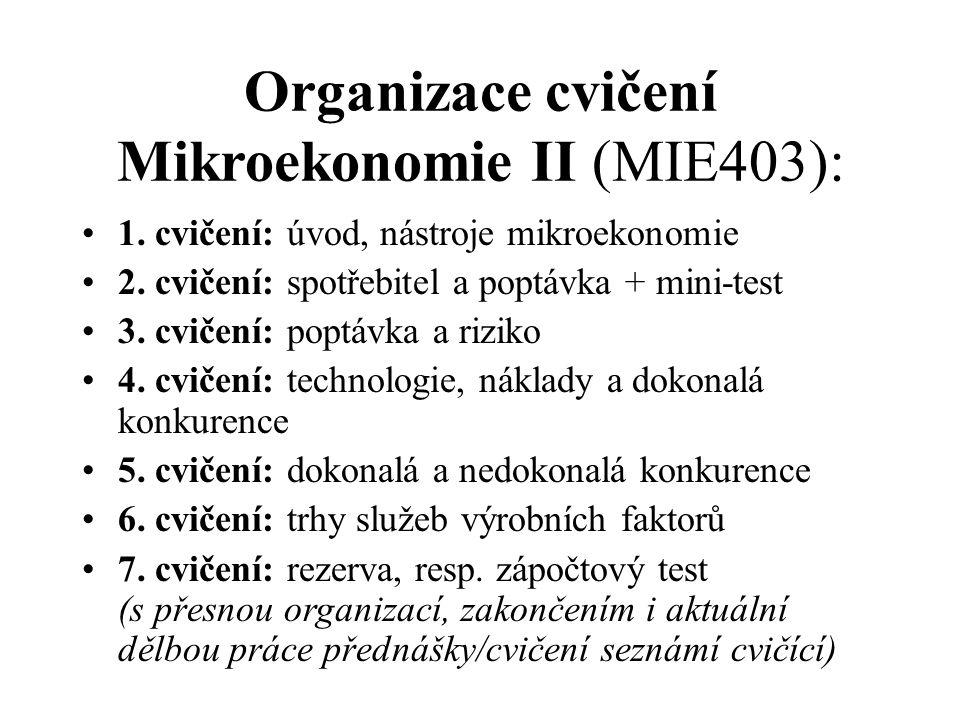 Organizace cvičení Mikroekonomie II (MIE403):