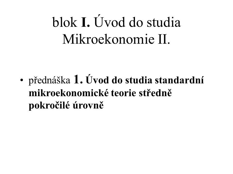 blok I. Úvod do studia Mikroekonomie II.