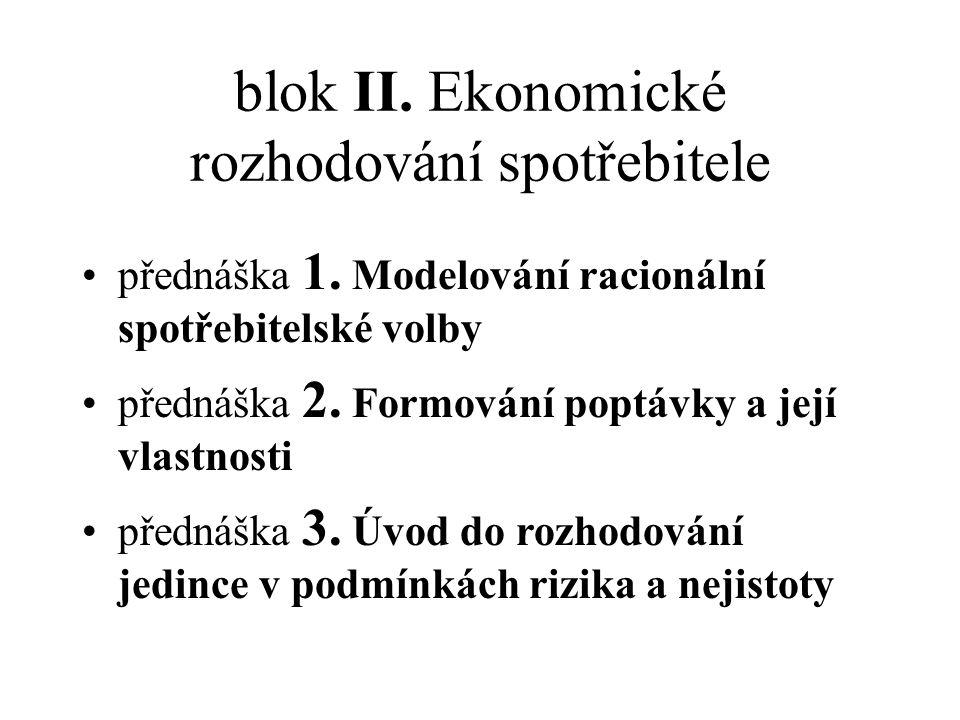 blok II. Ekonomické rozhodování spotřebitele