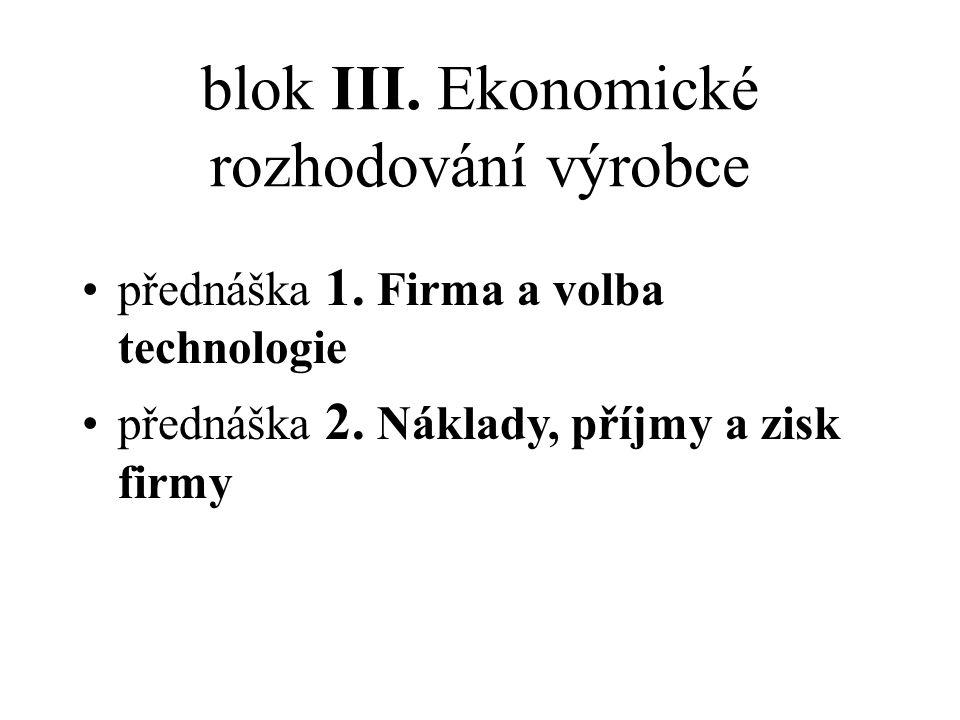 blok III. Ekonomické rozhodování výrobce