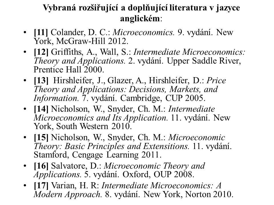 Vybraná rozšiřující a doplňující literatura v jazyce anglickém: