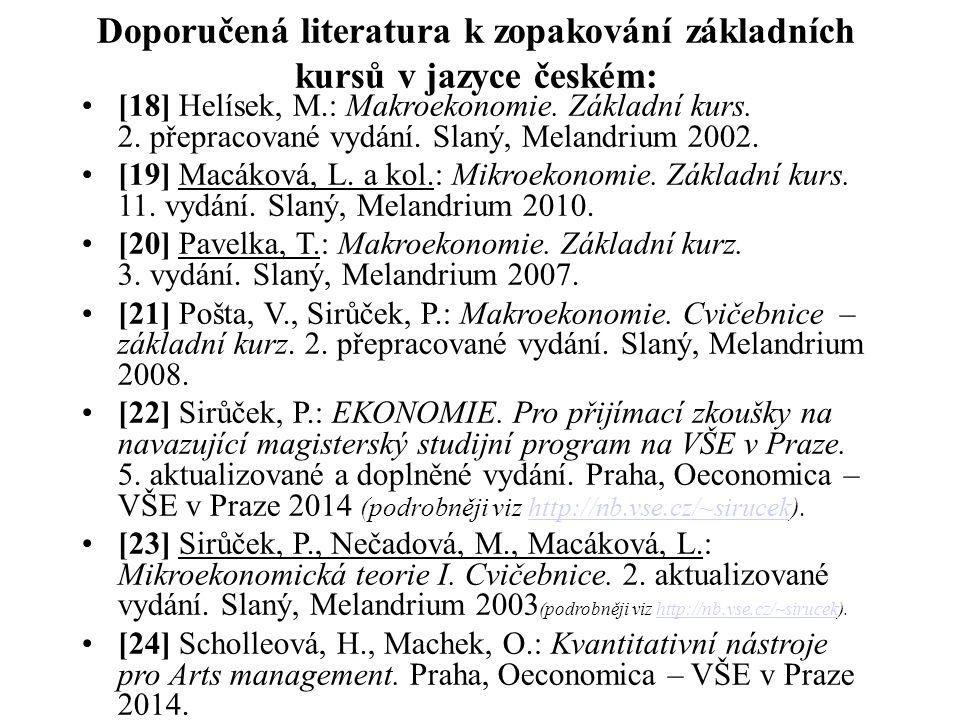 Doporučená literatura k zopakování základních kursů v jazyce českém: