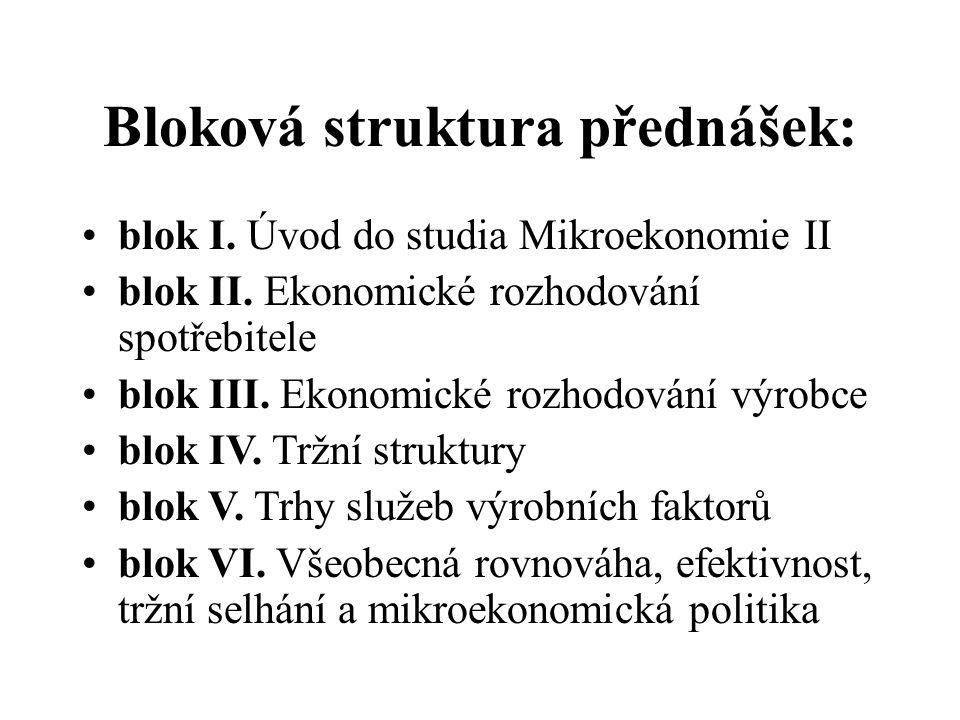 Bloková struktura přednášek: