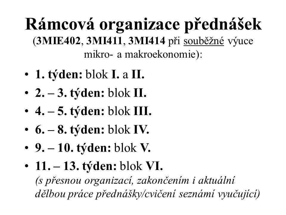 Rámcová organizace přednášek (3MIE402, 3MI411, 3MI414 při souběžné výuce mikro- a makroekonomie):