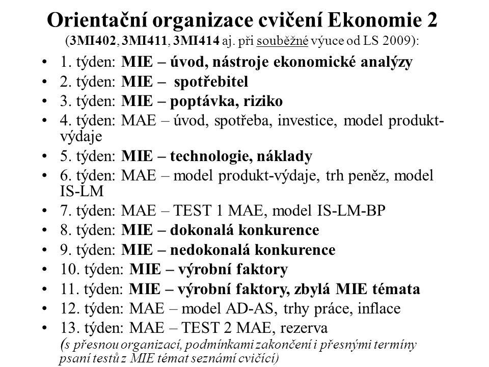Orientační organizace cvičení Ekonomie 2 (3MI402, 3MI411, 3MI414 aj