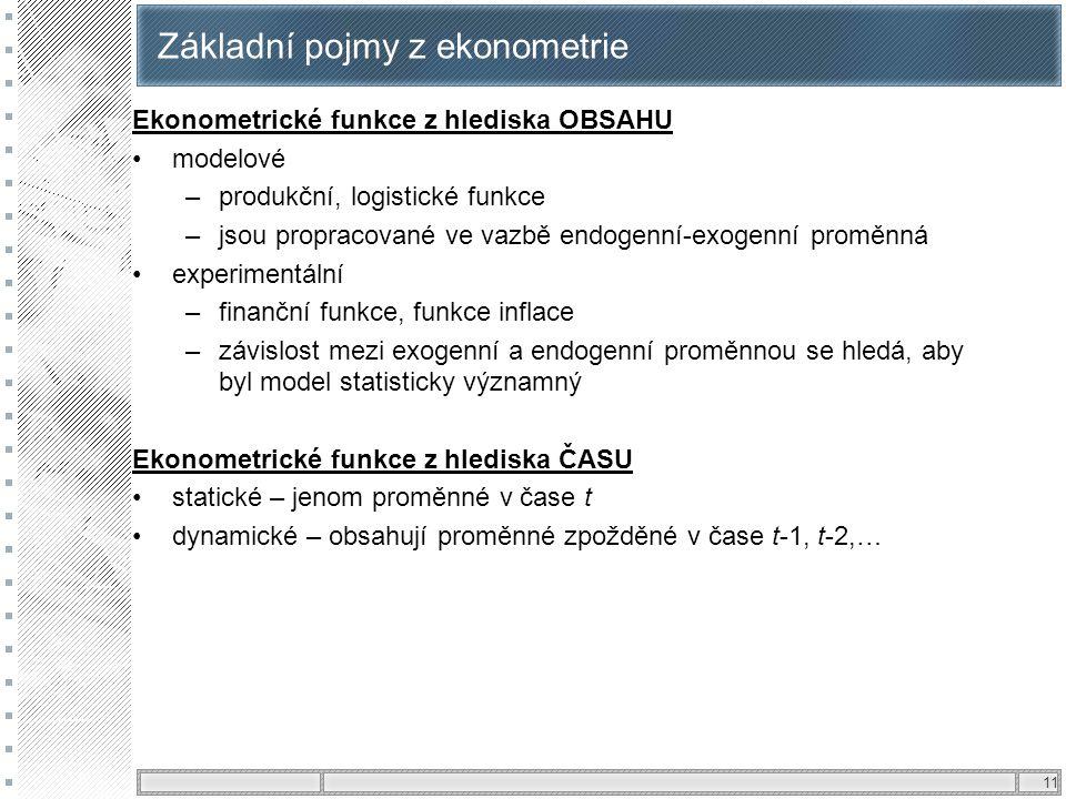 Základní pojmy z ekonometrie