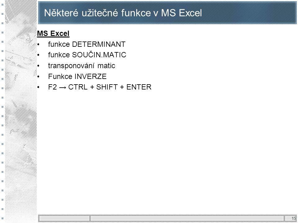 Některé užitečné funkce v MS Excel