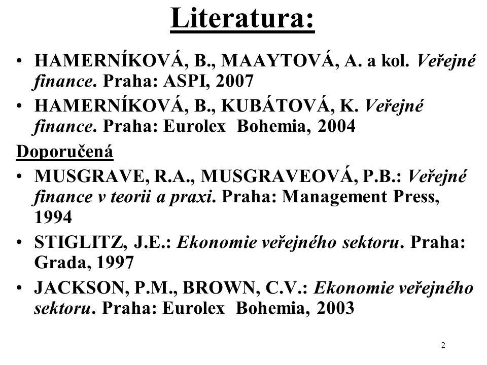 Literatura: HAMERNÍKOVÁ, B., MAAYTOVÁ, A. a kol. Veřejné finance. Praha: ASPI, 2007.