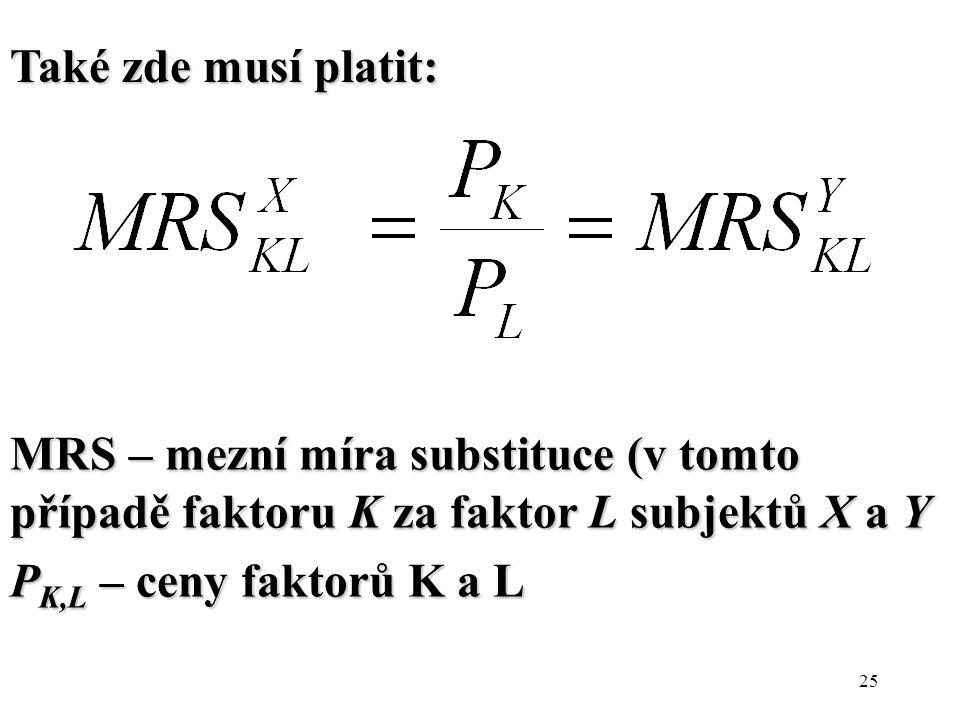Také zde musí platit: MRS – mezní míra substituce (v tomto případě faktoru K za faktor L subjektů X a Y.