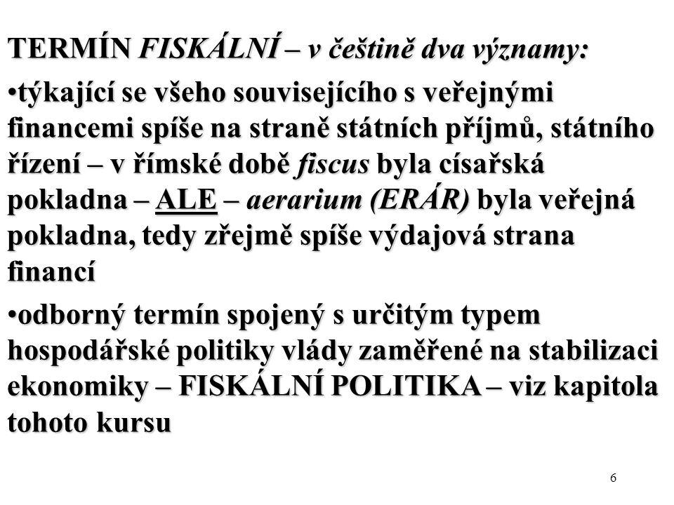 TERMÍN FISKÁLNÍ – v češtině dva významy: