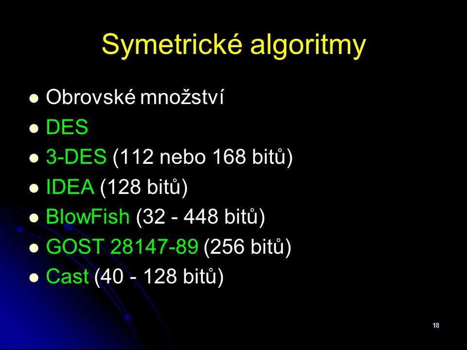 Symetrické algoritmy Obrovské množství DES 3-DES (112 nebo 168 bitů)