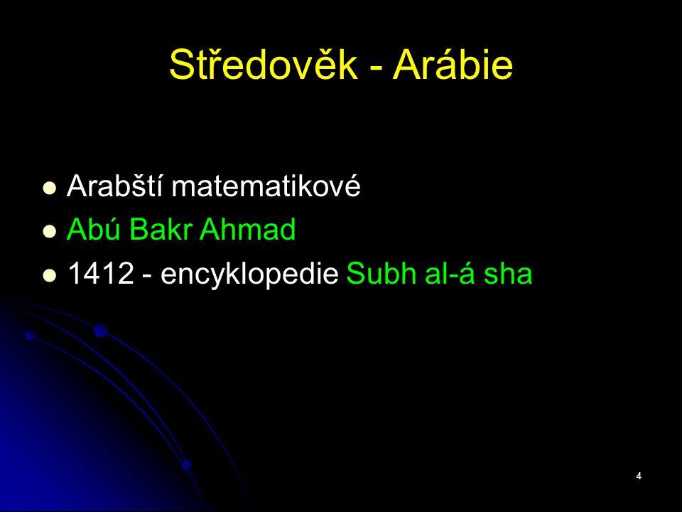 Středověk - Arábie Arabští matematikové Abú Bakr Ahmad