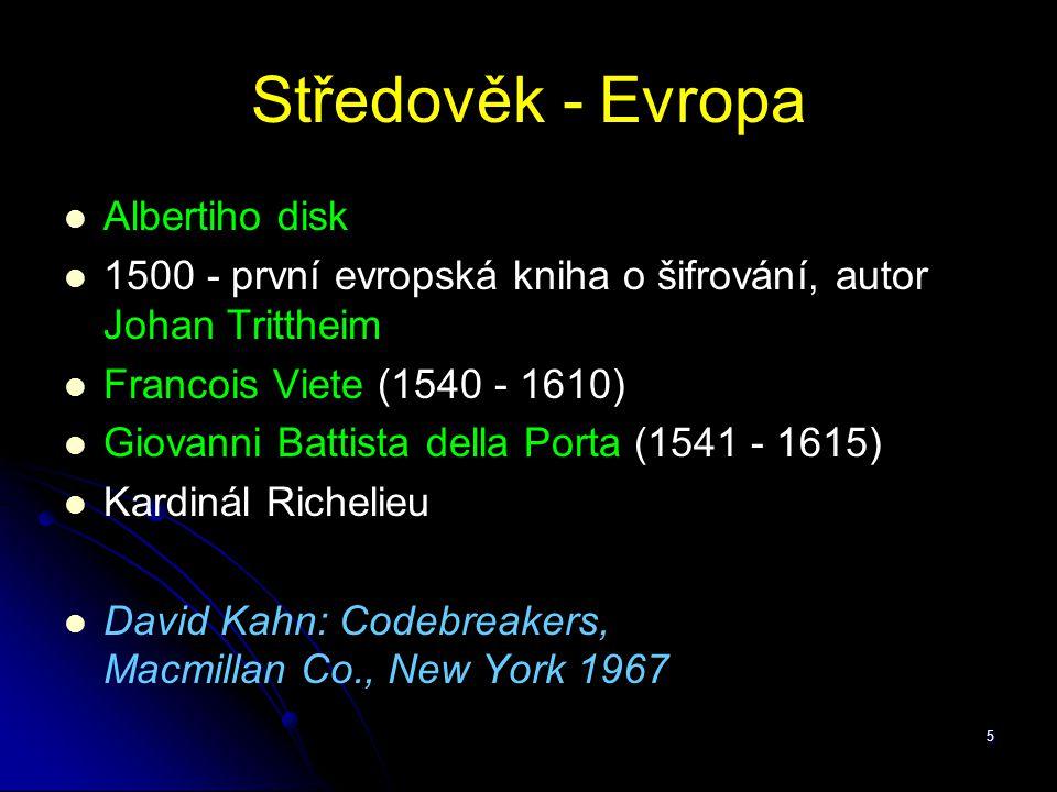 Středověk - Evropa Albertiho disk
