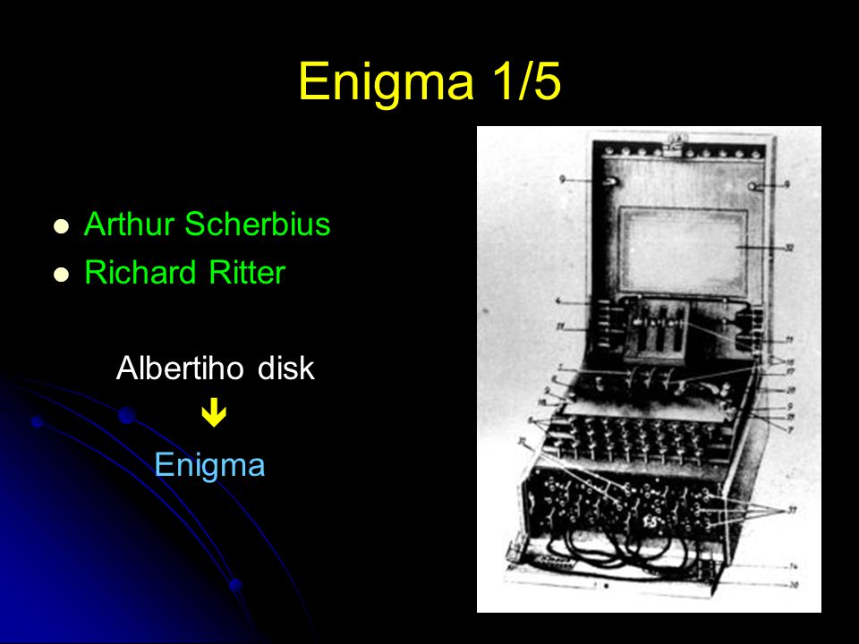 Enigma 1/5 Arthur Scherbius Richard Ritter Albertiho disk  Enigma