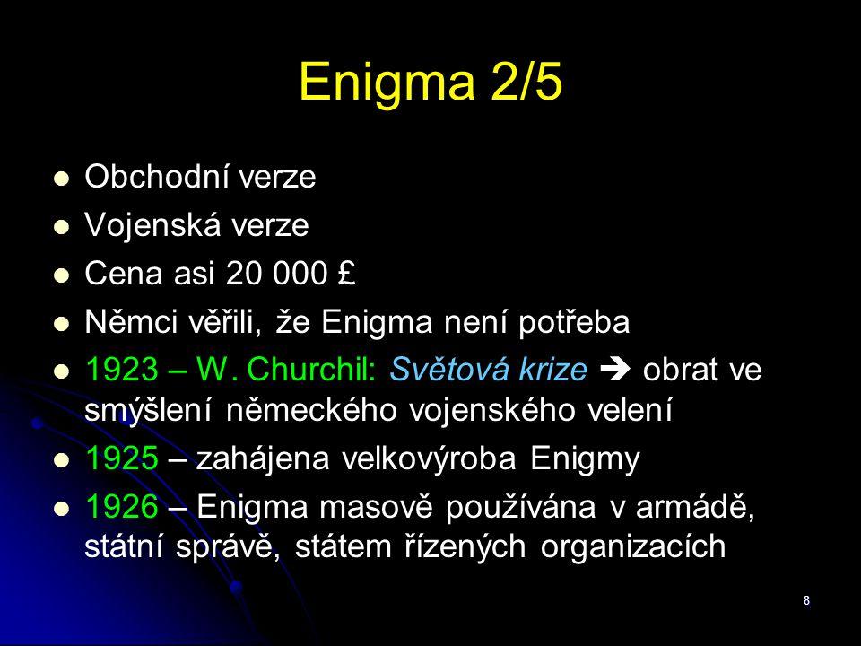 Enigma 2/5 Obchodní verze Vojenská verze Cena asi 20 000 £