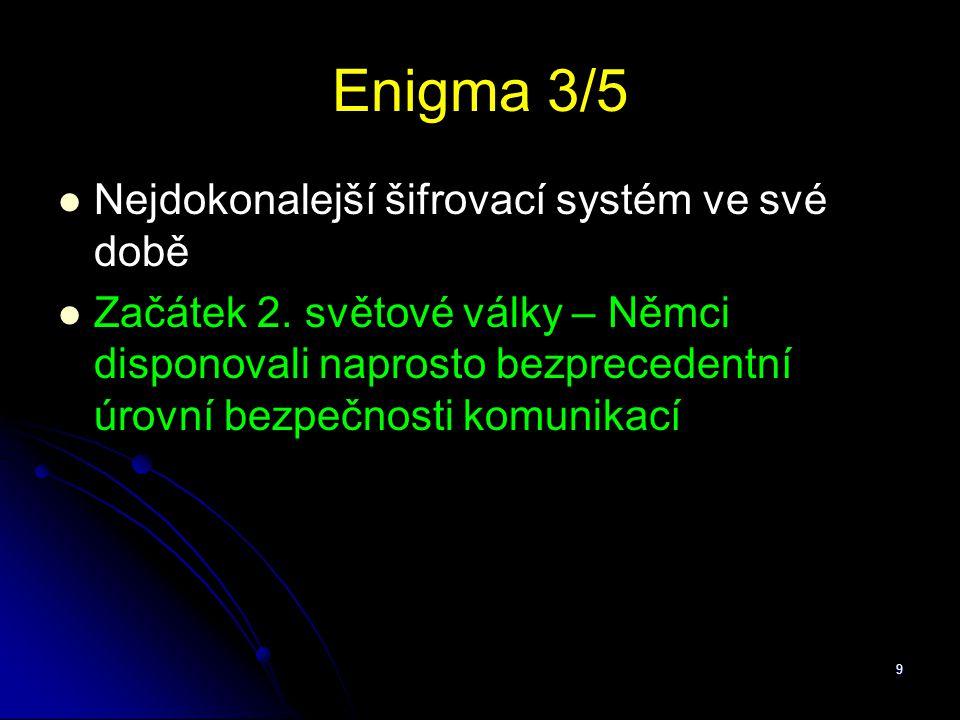 Enigma 3/5 Nejdokonalejší šifrovací systém ve své době