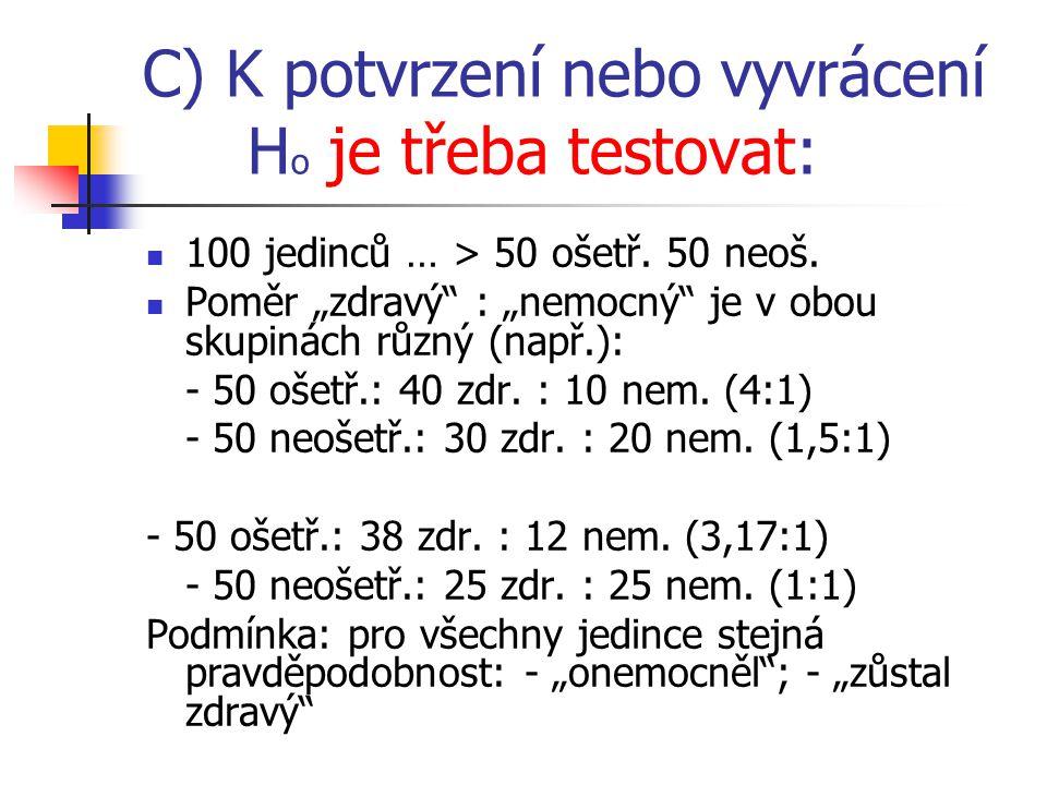C) K potvrzení nebo vyvrácení Ho je třeba testovat: