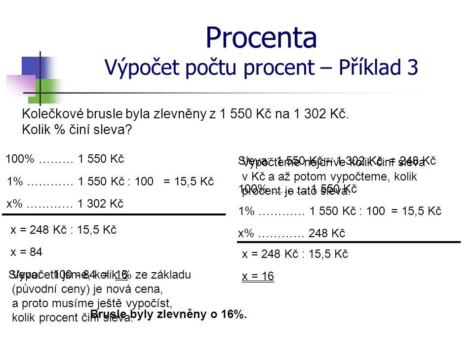Procenta Výpočet počtu procent – Příklad 3