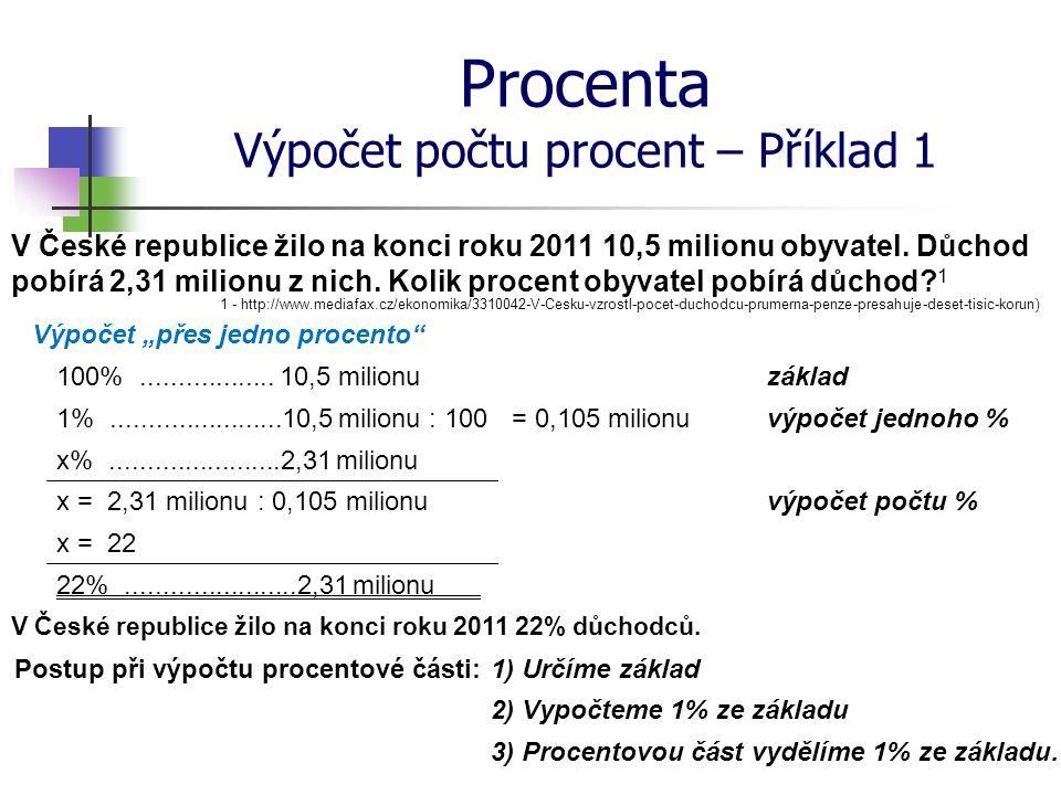 Procenta Výpočet počtu procent – Příklad 1
