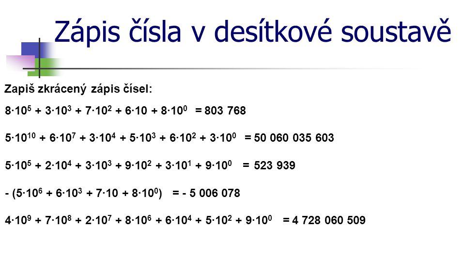 Zápis čísla v desítkové soustavě