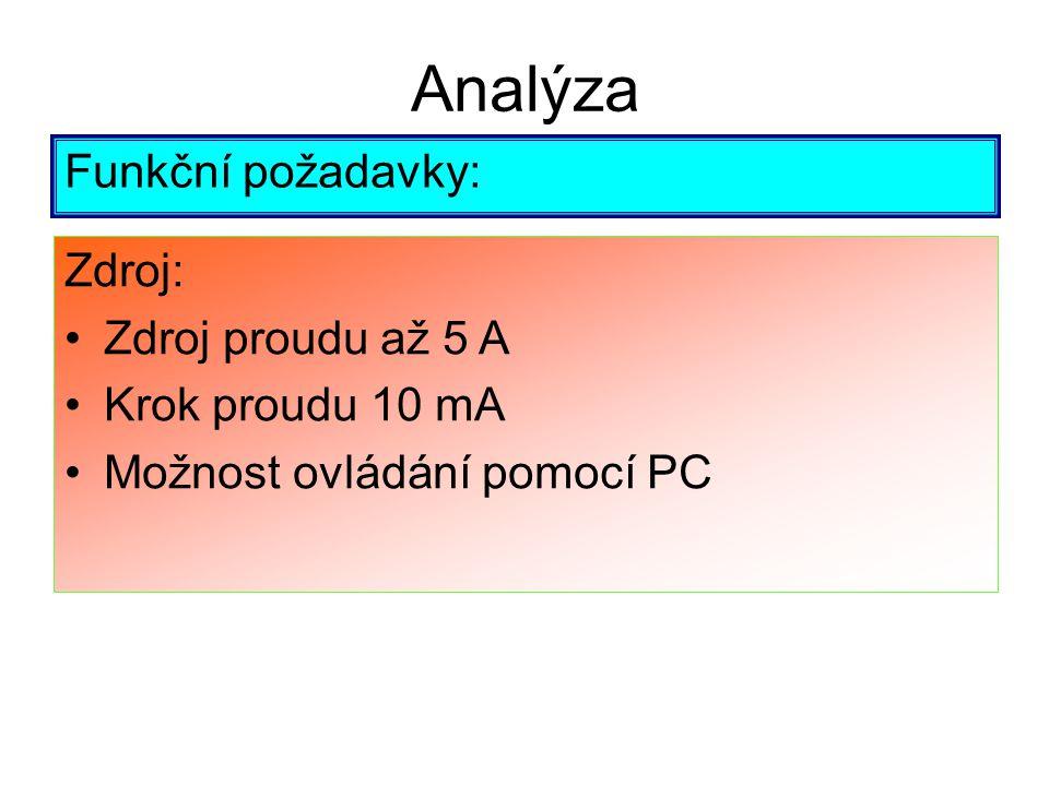Analýza Funkční požadavky: Zdroj: Zdroj proudu až 5 A