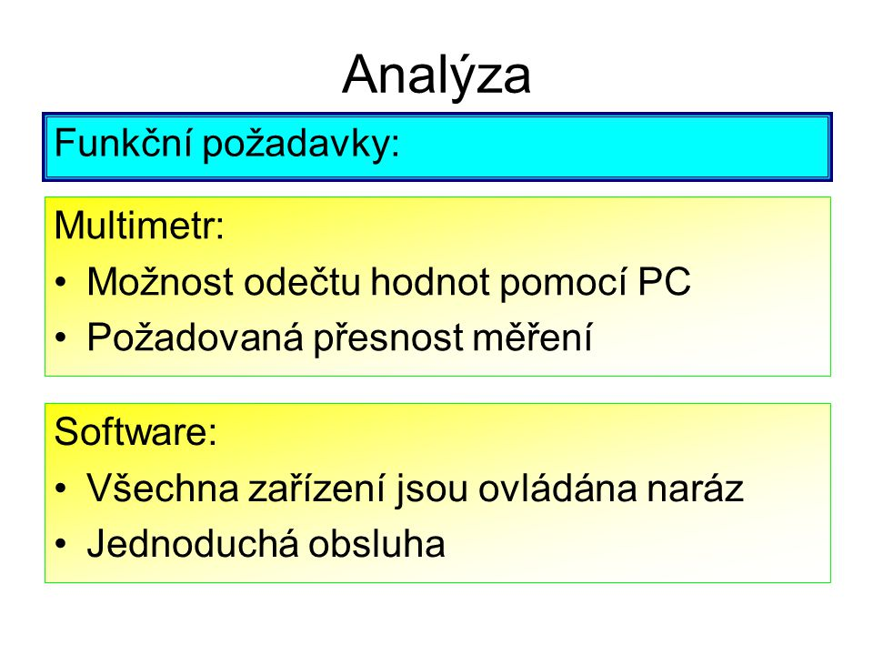 Analýza Funkční požadavky: Multimetr: Možnost odečtu hodnot pomocí PC