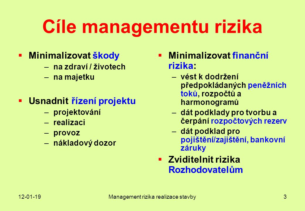 Cíle managementu rizika