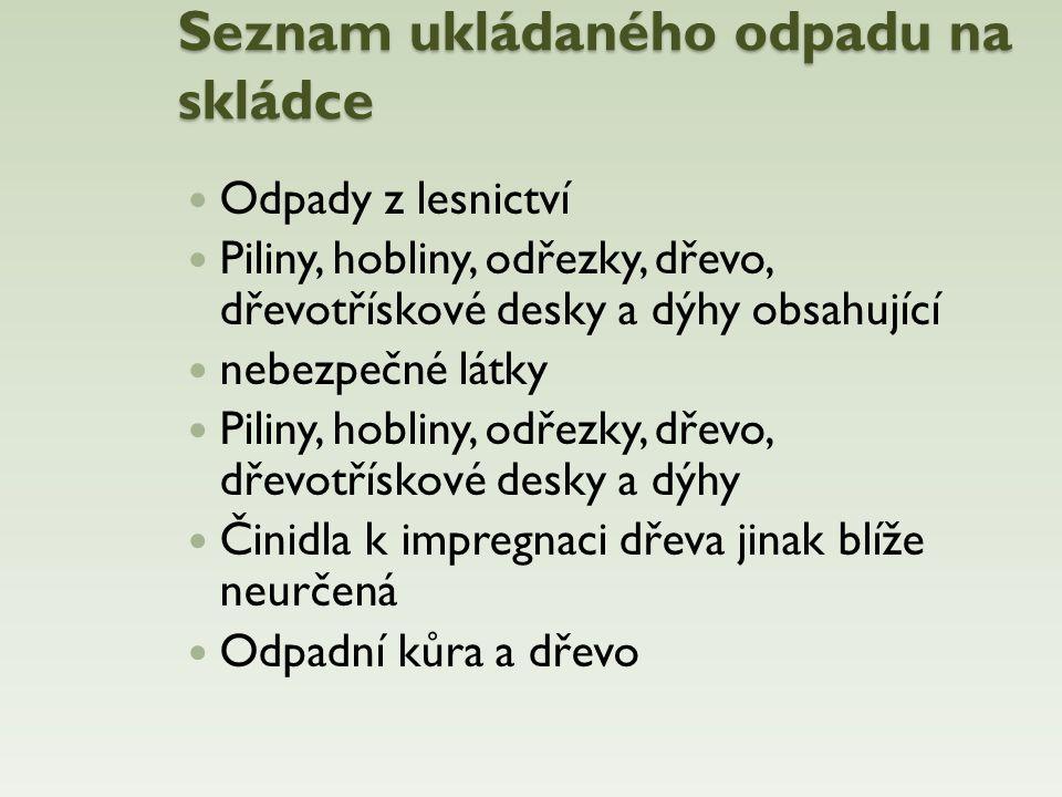 Seznam ukládaného odpadu na skládce