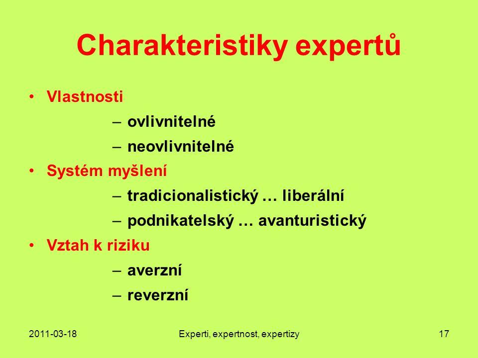 Charakteristiky expertů