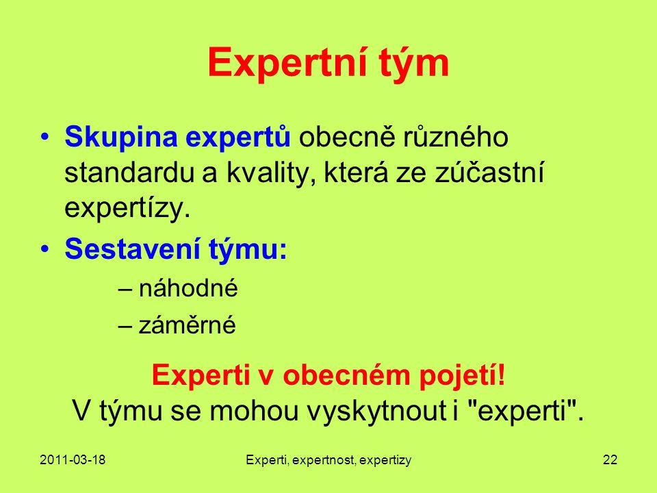 Expertní tým Skupina expertů obecně různého standardu a kvality, která ze zúčastní expertízy. Sestavení týmu:
