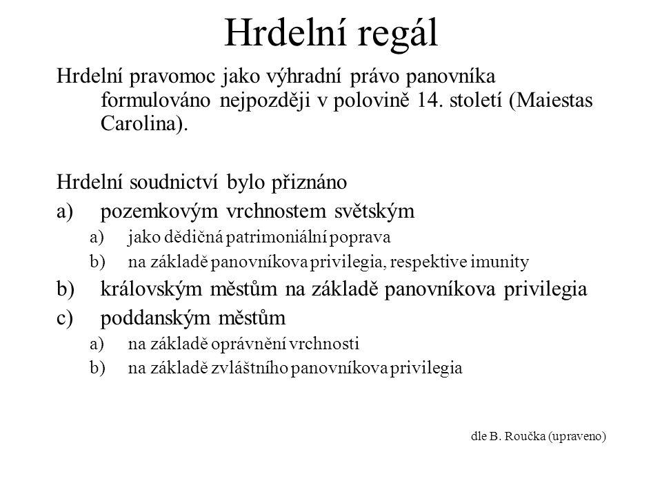 Hrdelní regál Hrdelní pravomoc jako výhradní právo panovníka formulováno nejpozději v polovině 14. století (Maiestas Carolina).