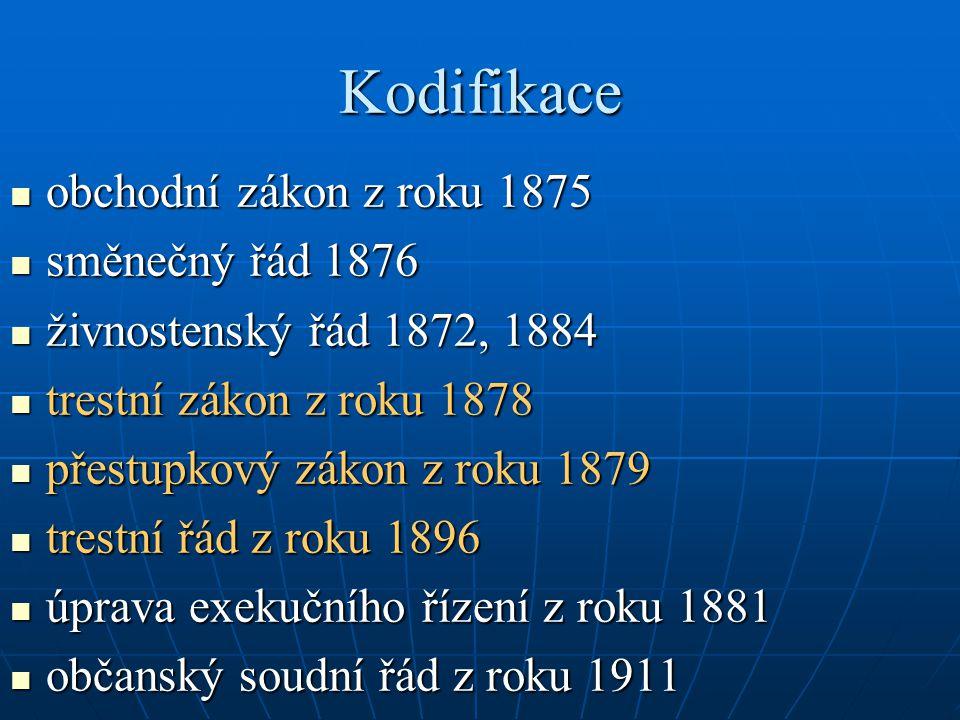 Kodifikace obchodní zákon z roku 1875 směnečný řád 1876
