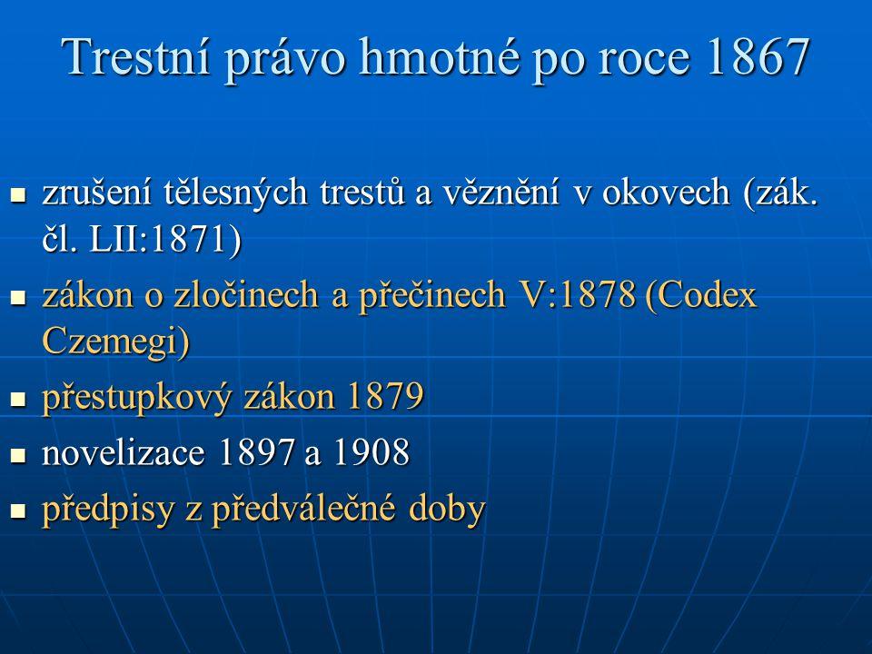 Trestní právo hmotné po roce 1867