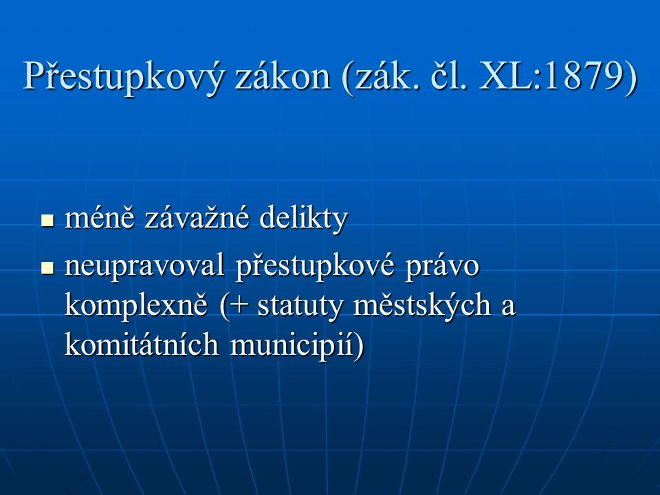 Přestupkový zákon (zák. čl. XL:1879)
