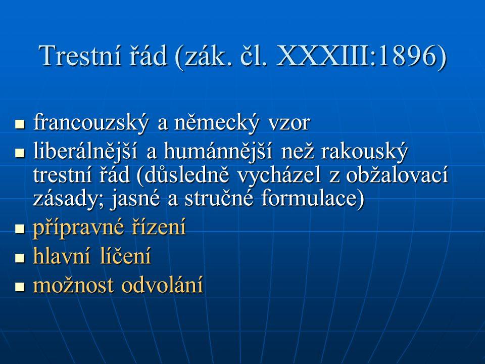 Trestní řád (zák. čl. XXXIII:1896)