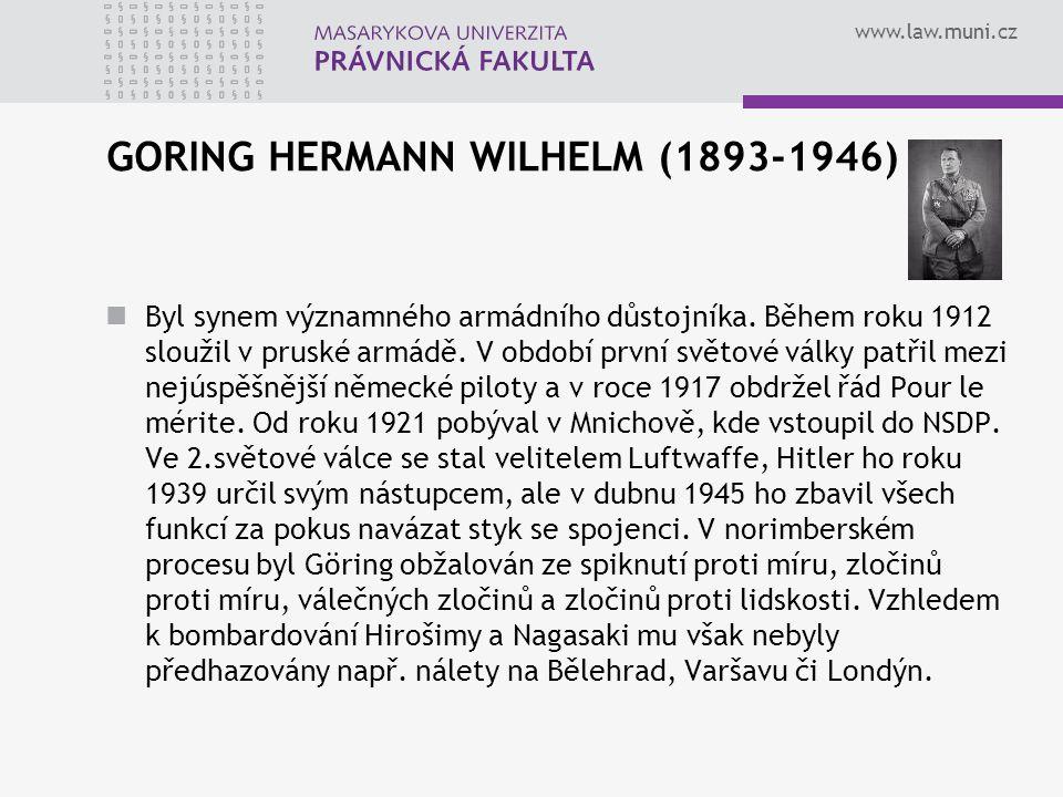 GORING HERMANN WILHELM (1893-1946)